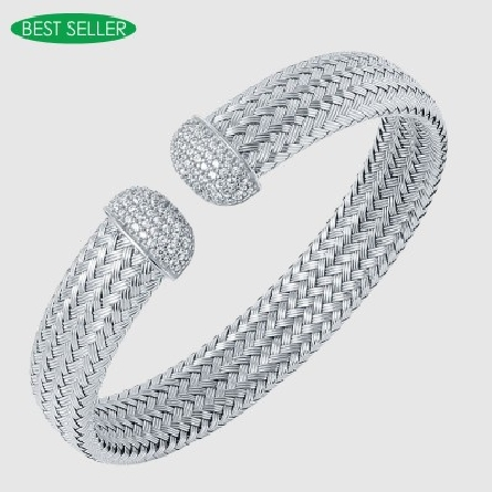 sterling silver flexible woven 12mm wide cuff bracelet with cubic zirconia pave set on ends; rhodium plated