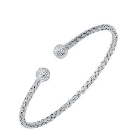 sterling silver cuff bracelet; woven wire has round ends set with cubic zirconia