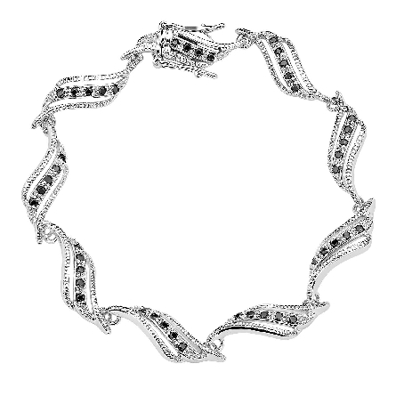 sterling silver bracelet; each link alternating tiny black and clear cubic zirconia in a twist/swirl link with beading detail; integral snap clasp with double foldover safeties