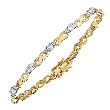 sterling silver gold plated bracelet; X-shaped links alternating with links containing 3 round clear cubic zirconias; integral snap clasp with double foldover safeties; TRJewelry SESGB576
