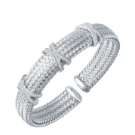 sterling silver 12mm flexible cuff bracelet with rhodium plate;  triple X design in cubic zirconia