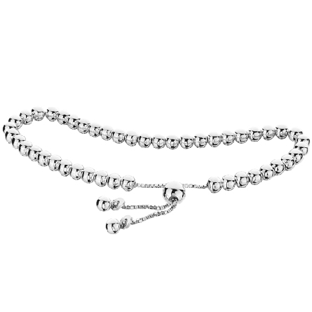 sterling silver adjustable length bracelet with beads on box chain