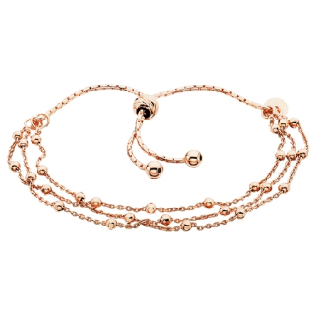 sterling silver with rose gold plate adjustable length   friendship   bracelet; three strand with faceted bead stations