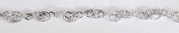 sterling silver interlocking diamond cut circle bracelet; 7.25 inches; lobster claw