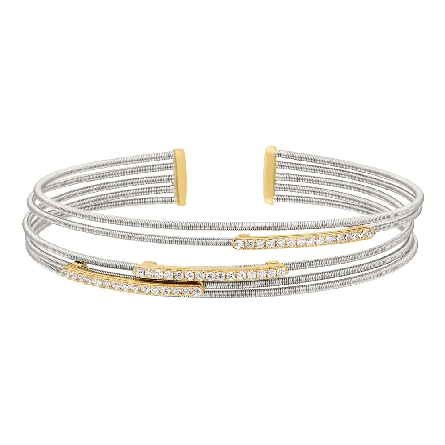 sterling silver cuff bracelet; 4 cable strands with 3 horizontal gold finished bars set with simulated diamonds
