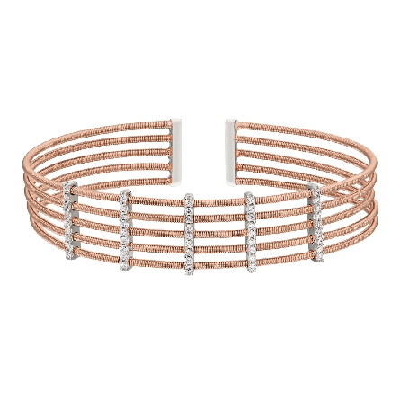sterling silver cuff bracelet; 4 rose gold finish cable strands connected by 4 rhodium finish vertical bars set with simulated diamonds