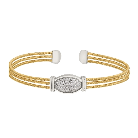 sterling silver cuff bracelet; 3 gold finish cable strands connected by a rhodium finish oval set with simulated diamonds