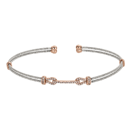 sterling silver cuff bracelet; 2 cable strands connected by a rose gold finish simulated buckle set with simulated diamonds