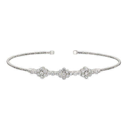 sterling silver cuff bracelet; cable strand with three clusters of simulated diamonds