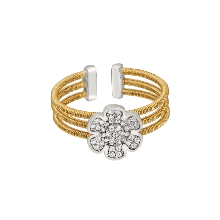 sterling silver cuff ring; three gold finish cables with rhodium finish flower set with simulated diamonds