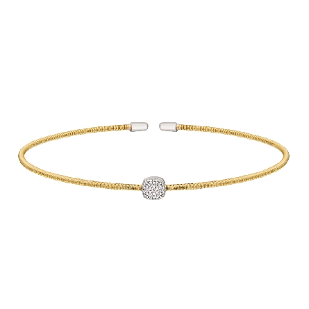 sterling silver cuff bracelet; gold finish cable strand with rhodium finish center cluster set with simulated diamonds