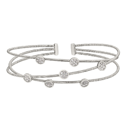 sterling silver cuff bracelet; 3 rhodium finish cable strands with scattered clusters of simulated diamonds