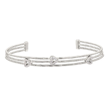sterling silver cuff bracelet; 3 rhodium finish cable strands with 3 heart shapes set with simulated diamonds