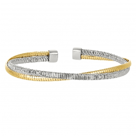 sterling silver bracelet with one rhodium plate and one gold plate omega twist