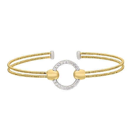 sterling silver double strand gold plated cuff bracelet; center rhodium finish circle set with simulated diamonds