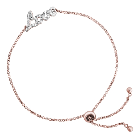 sterling silver rose gold plate bolo bracelet with the word   Love   in the center set with CZs