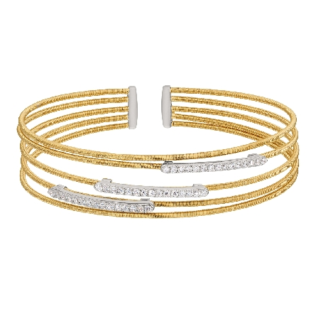 gold finish sterling silver multi cable cuff bracelet with rhodium finish simulated diamond horizontal bars