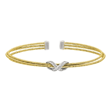 gold finish sterling silver three cable cuff bracelet with rhodium finish simulated diamond infinity