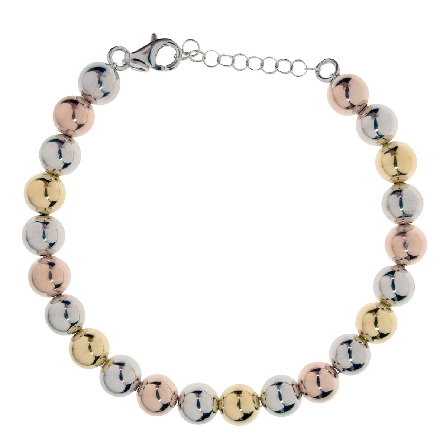 sterling silver bracelet; polished beads are rhodium; yellow gold and rose gold plated; adjustable length