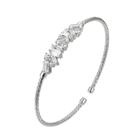 sterling silver 2mm flexible mesh cuff bracelet with baguette and round cubic zirconia scattered across the center