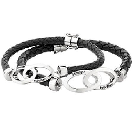 7.5 inch bracelet; woven leather with center infinity plaque engraved   Stronger Together  ; magnetic clasp with foldover safety Shown with a larger version of the same design.