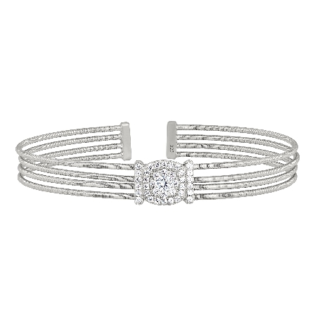 sterling silver cuff bracelet with four cables and a center round simulated diamond cluster on top of cushion shape with vertical bars