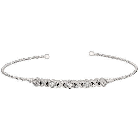 sterling silver cable cuff bracelet with centerl bar of simulated diamonds in an XO flower shape