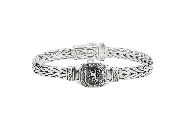 This sterling silver 9 inch bracelet is from the Keith Jack Celtic-inspired Scottish collection. The hinged centerpiece is the Lion Rampant; and the snap clasp has double foldover safeties. Wear this bracelet to show pride in your Scottish heritage.